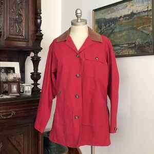 L.L. Bean Barn Coat Red Cotton Leather Collar